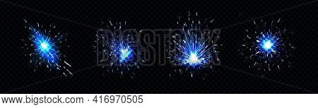 Blue Sparks Of Welding, Firework Petard Flare, Sparklers Or Iron Cutting Works. Bright Glowing Light