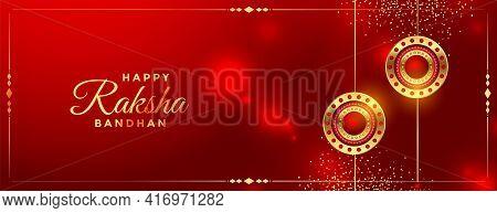 Shiny Red Raksha Bandhan Festival Greeting Banner Design