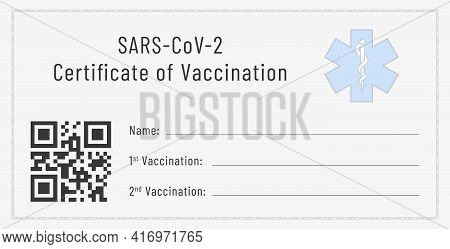 Certificate Of Vaccination Against Sars-cov-2. Blank Template Of A Flu Shots Card.