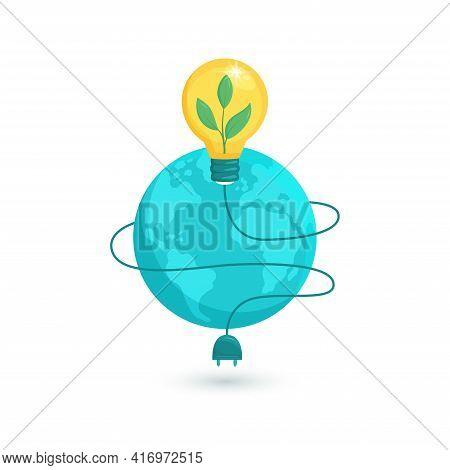 Ecology Concepts, Save Energy And Planet, Electric Light Bulb, Earth. Green Energy Illustration