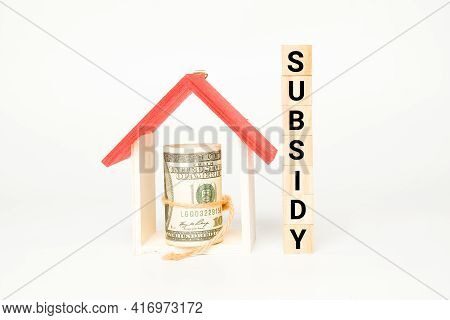 A Picture Of Wooden Block With Subsidy Word, House Miniature And Fake Money Insight. Property Subsid