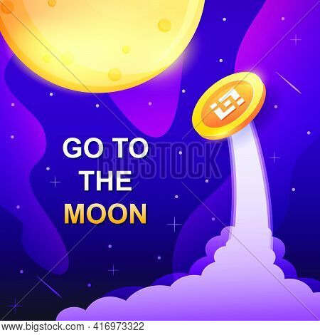 Concept Of Binance, Exchange Platform Crypto With Token Vector Go To The Moon