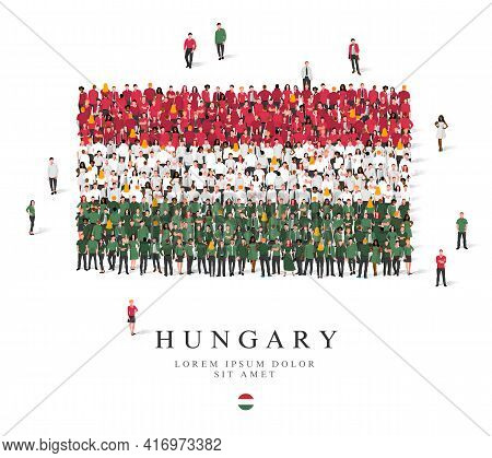 A Large Group Of People Are Standing In Green, White And Red Robes, Symbolizing The Flag Of Hungary.