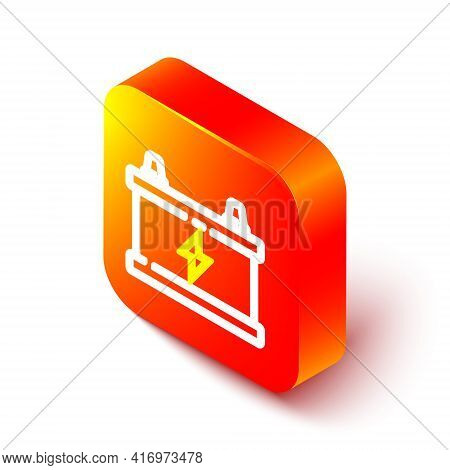 Isometric Line Car Battery Icon Isolated On White Background. Accumulator Battery Energy Power And E