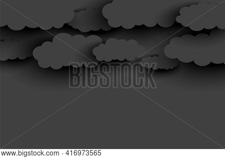 Dark Gray Clouds Background In Papercut Style