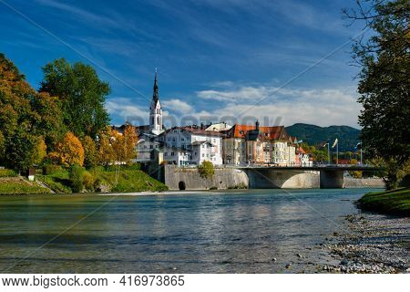 Bad Tolz - picturesque resort town in Bavaria, Germany in autumn and Isar river