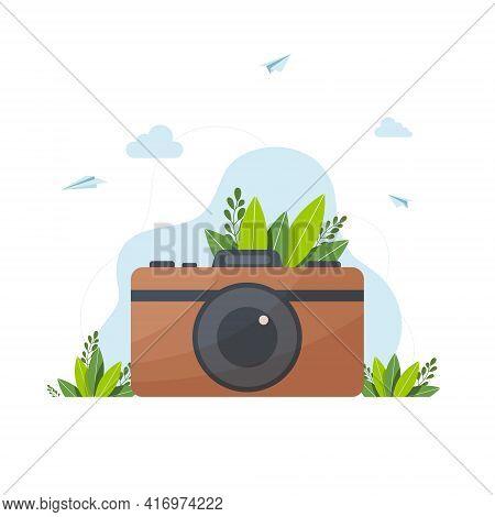 Camera Vector Illustration, Retro Hipster Photo Camera, Vector Retro Hipster Photo Camera Isolated O