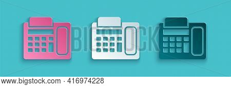 Paper Cut Telephone Icon Isolated On Blue Background. Landline Phone. Paper Art Style. Vector Illust