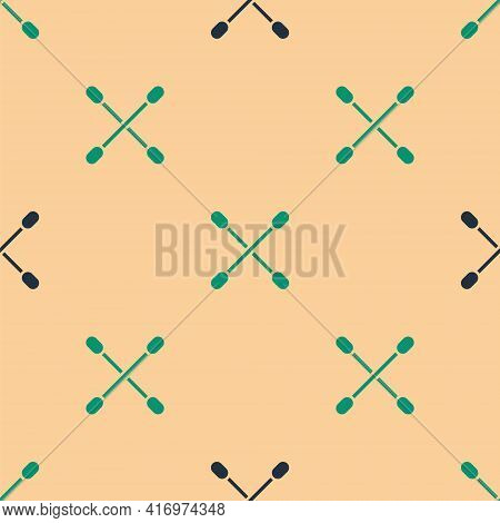 Green And Black Cotton Swab For Ears Icon Isolated Seamless Pattern On Beige Background. Vector Illu
