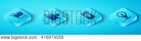 Set Isometric Shopping Cart And Food, Online Ordering And Delivery, Cafe And Restaurant Location And