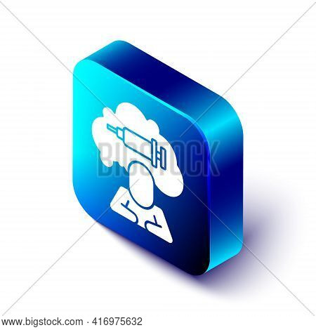 Isometric Addiction To The Drug Icon Isolated On White Background. Heroin, Narcotic, Addiction, Ille