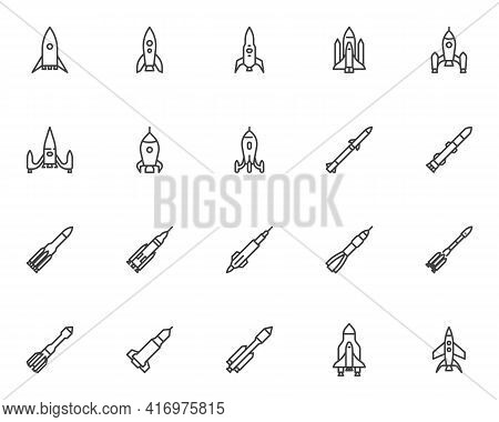 Spaceship Rocket Line Icons Set. Linear Style Symbols Collection, Outline Signs Pack. Spacecraft Vec