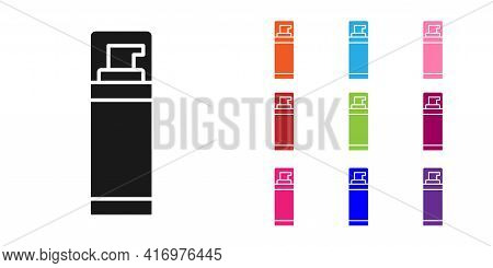 Black Shaving Gel Foam Icon Isolated On White Background. Shaving Cream. Set Icons Colorful. Vector