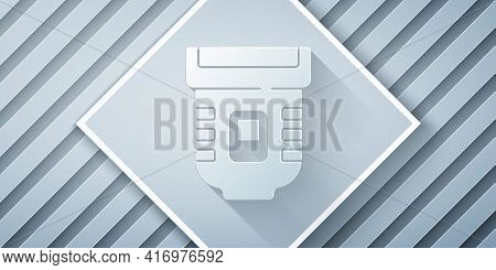 Paper Cut Epilator Icon Isolated On Grey Background. Depilation By Electric Razor. Hair Removal On T