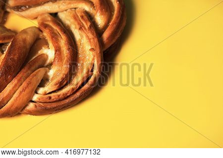 Pie Slices On A Bright Background. Bright, Appetizing Ads That Attract Attention To Products And Ins