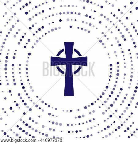 Blue Tombstone With Cross Icon Isolated On White Background. Grave Icon. Abstract Circle Random Dots