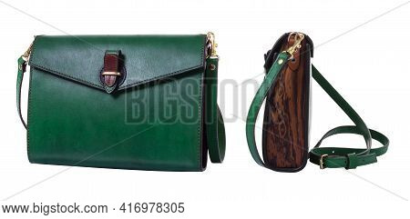 Green Women's Bag Made Of Genuine Leather And Walnut And Ash Wood. Metal Fittings Made Of Brass. The