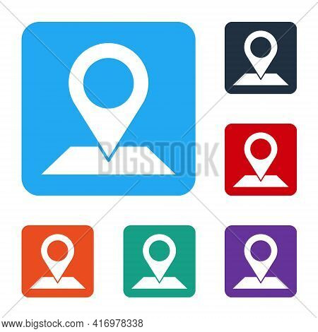 White Map Pin Icon Isolated On White Background. Navigation, Pointer, Location, Map, Gps, Direction,