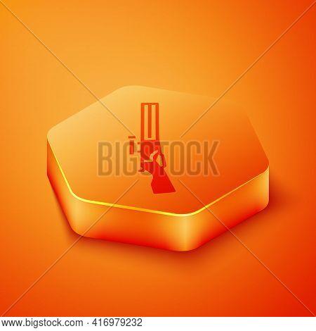 Isometric Hunting Gun Icon Isolated On Orange Background. Hunting Shotgun. Orange Hexagon Button. Ve