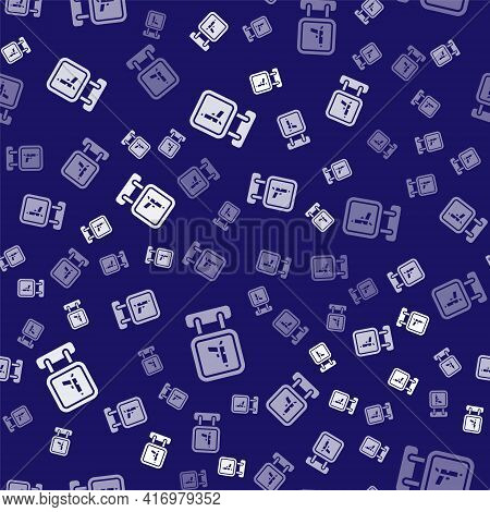 White Hunting Shop With Rifle And Gun Weapon Icon Isolated Seamless Pattern On Blue Background. Supe