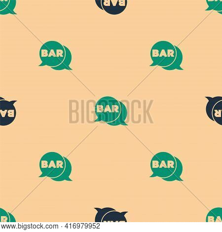 Green And Black Street Signboard With Inscription Bar Icon Isolated Seamless Pattern On Beige Backgr