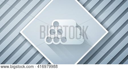 Paper Cut Wooden Logs Icon Isolated On Grey Background. Stack Of Firewood. Paper Art Style. Vector