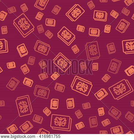Brown Line Rorschach Test Icon Isolated Seamless Pattern On Red Background. Psycho Diagnostic Inkblo