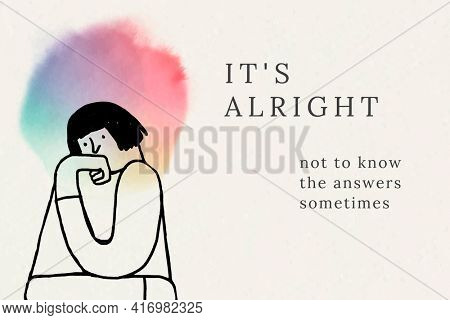 It is alright cheerful quote woman avatar illustration for health and wellness campaign social banner