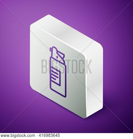 Isometric Line Weapons Oil Bottle Icon Isolated On Purple Background. Weapon Care. Silver Square But