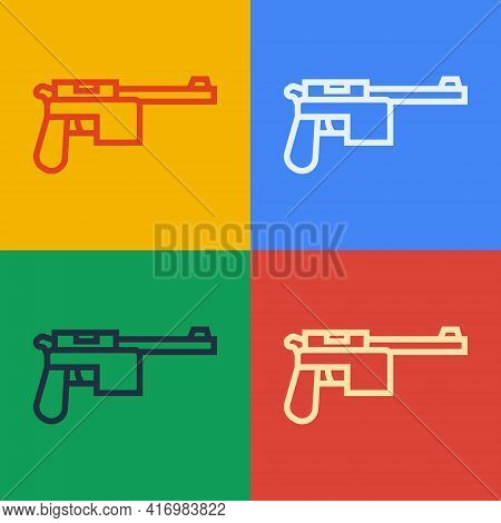 Pop Art Line Mauser Gun Icon Isolated On Color Background. Mauser C96 Is A Semi-automatic Pistol. Ve