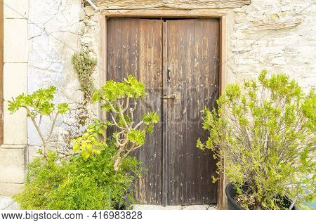 November 2020. Kato Drys In Larnaca District, Cyprus. Wooden Door In The Traditional Village Of Kato