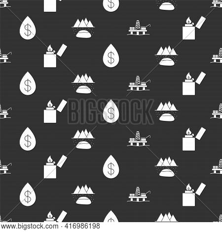 Set Oil Platform In The Sea, Lighter, Oil Drop With Dollar And Oilfield On Seamless Pattern. Vector