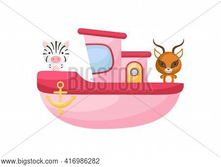 Cute Little Zebra And Gazelle Sailing On Pink Ship. Cartoon Character For Childrens Book, Album, Bab