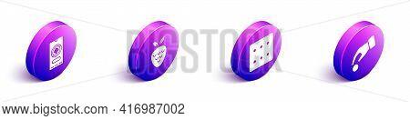 Set Isometric Casino Poker Tournament Invitation, Casino Slot Machine With Strawberry, Game Dice And