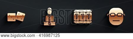 Set Game Dice, Casino Dealer, Slot Machine With Lucky Sevens And Poker Player Icon With Long Shadow.