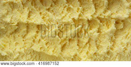 Vanilla Ice Cream Texture Banner Fresh Creamy Frozen Vanilla Icecream.