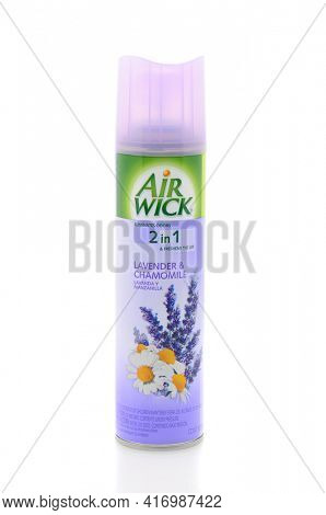 IRVINE, CA - JAN 31, 2011: Single aerosol can of Air Wick Lavender and Chamomile Freshener on a white background