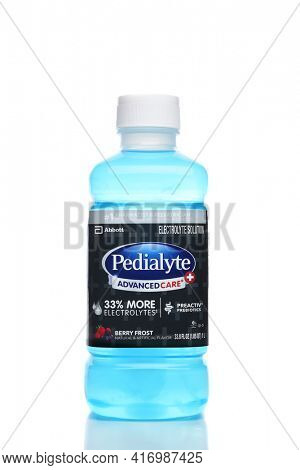 IRVINE, CALIFORNIA - 21 DEC 2020: A bottle of Pedialyte Advanced Care Electrolyte Solution, Berry Frost Flavor.