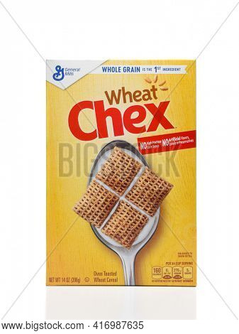 IRVINE, CALIFORNIA - AUGUST 30, 2019: A box of Wheat Chex breakfast cereal form General Mills.