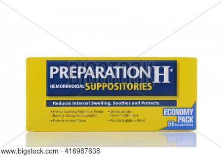 IRVINE, CA - AUGUST 15, 2016: A box of Preparation H Suppositories for the treatment of hemorrhoids.