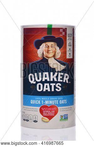 IRVINE, CALIFORNIA - 24 DECEMBER 2019: A box of Quaker Oats whole grain quick oats.
