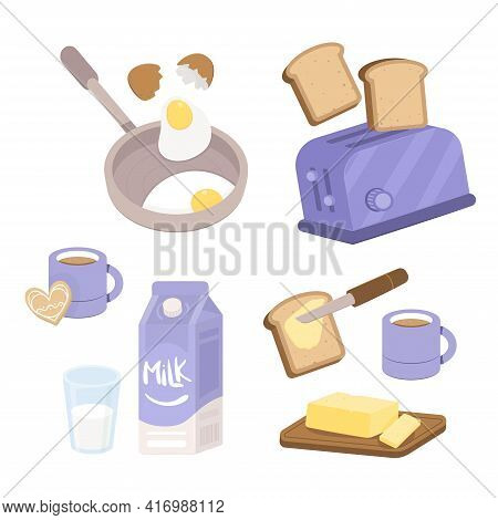Breakfast Preparation Concept. Fried Eggs, Toast, Bread And Butter And A Cup Of Coffee. Classic Brea