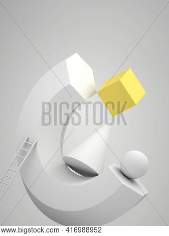 Abstract Still Life Installation, Levitating White Geometric Shapes, Ladder And Yellow Cube. Vertica