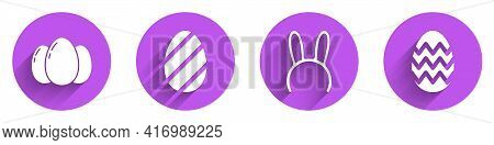 Set Easter Eggs, Easter Egg, Mask With Long Bunny Ears And Easter Egg Icon With Long Shadow. Vector