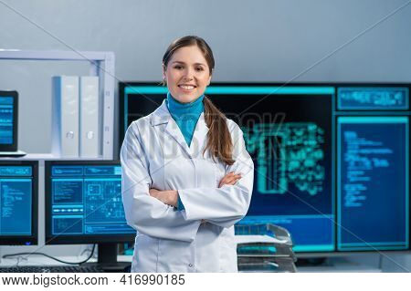 Female Microelectronics Engineer Works In A Scientific Laboratory On Computing Systems And Microproc