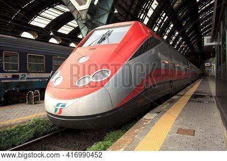 Milano (mi), Italy - October 04, 2017: Frecciarossa Train At Milano Centrale Railway Station, Stazio