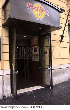 Roma, Italy - October 04, 2017: Hard Rock Cafe Door In Rome, Italy.
