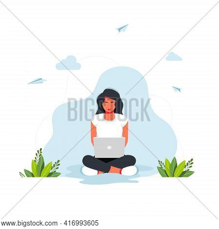 Freelance, Online Studying, Work From Home Concept. Girl Sitting With Laptop In A Lotus Position. Th
