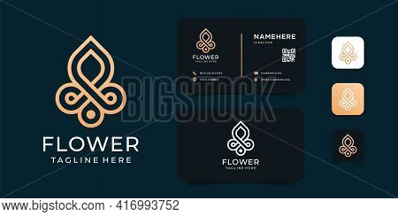 Golden Flower Ornament Monogram Logo Design Vector Concept For Yoga Spa. Logo Can Be Used For Icon,