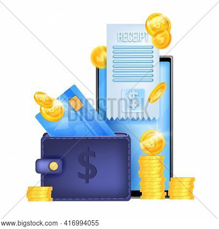 Online Payment, Vector Finance Illustration, Smartphone Screen, Payment Card, Wallet, Receipt. Elect